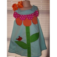 Patchwork Back to School Big Flower and Bird Dress and Bow Size 4t/5t 22in length