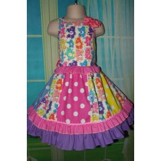Patchwork Care Bear Fabric Polka Dots  Ruffle  Dress and Bow  Size 3t/4t  Ready to ship(see measurements)