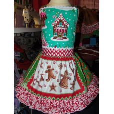 Patchwork Christmas Gingerbread Village Ginger cookies Gingerbread Girl Costume Apron Dress Size 3t