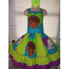 Patchwork Doc Mcstuffins  Ruffle  Dress   Size 5t  Ready to ship(see measurements)