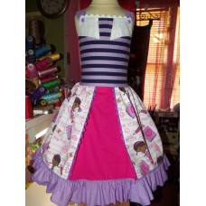 Patchwork Doc Mcstuffins  Ruffle  Dress   Size 6  Ready to ship(see measurements)