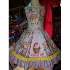 Patchwork   Easter Bunny Eggs  Glitter    Dress Size  4t   Ready to ship