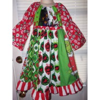 Patchwork Grinch Christmas  Back to School Dress Size 5/7  Ready to ship(read measurements)