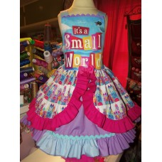 Patchwork It's a Small World Easter Birthday, Tea Party Fairy tale Dress   Size 4t  Ready to ship LAST ONE