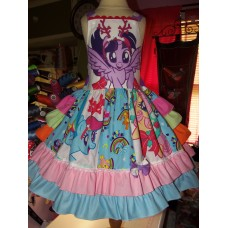 Patchwork Little Pony Christmas Pony  Birthday, rainbow dash  Tea Party Fairy tale Dress   Size 5t Ready to ship