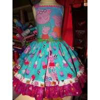 Patchwork Peppa Pig Family  Birthday, Tea Party Fairy tale Dress    Size 4 ready  to ship