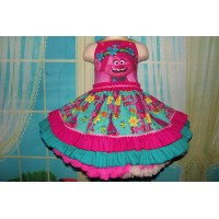 Patchwork Poppy Troll Smile Doll    Polka Dots  Ruffle  Dress Size 2t Ready to ship(see measurements  )