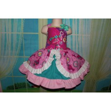 Patchwork Poppy Troll Smile Doll    Polka Dots  Ruffle  Dress Size 5t Ready to ship(see measurements  )
