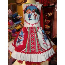 Patchwork Rudolph the red nosed reindeer Ruffle Dress and Bow Size 3t Ready to ship LAST ONE image