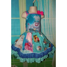 Patchwork Ursula Ariel Mermaid King  Disney  Picture Day    Ruffle   Dress   Size 4t Ready to ship(see measurements)