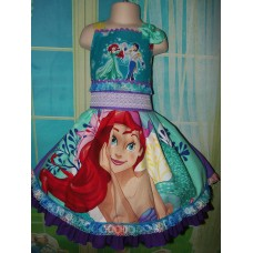 Patchwork Vintage fabric Ariel  Flounder Fish Mermaid  Princess  Ruffles Dress and Bow Size 5t/6  26in length Ready to Ship