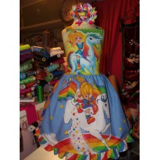 Patchwork  Vintage    fabric Rainbow Brite    Easter Valentine Dress Size 5t Ready to ship