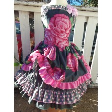 Patchwork Vintage fabric Summer Roses Valentine Heard Pink   Flowers    Ruffles  Dress and Bow Size 5t  25in length Ready to Ship