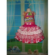 Shopkins Valentine Day  Pink Polka Dots  Ruffle Romantic Love Kiss Sweet  Dress Size 5t  Ready to ship(see measurements)