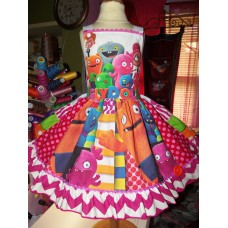 Ugly Dolls  Patchwork  Halloween   Ruffles   Dress Size 3t   Ready to ship