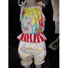 Vintage Recycling/upcycle fabric Dumbo Circus Ruffles romper  Size 4t  Ready to Ship Daycare  Romper  Girls