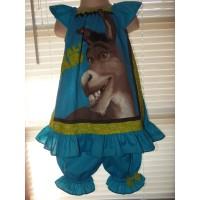 Vintage 2pc Bloomer Set  diaper cover   Set Shrek Ogre  Donkey   cake smash birthday   Size 3t/4t