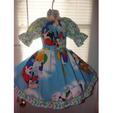 Vintage Patchwork fabric  Disney Characters  Easter   Ruffles  Dress and Bow  Size  4t  24in length Ready to Ship NEW FABRIC