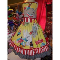 Vintage  Recycling fabric  Dumbo Circus  Ruffles  Dress Size 9/10  30in length    Ready to Ship