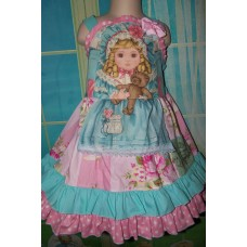 Vintage fabric  Patchwork Valentine Doll Roses Bear Apron  Face Love Pink   Dress Size 4t  Ready to ship(see measurements)