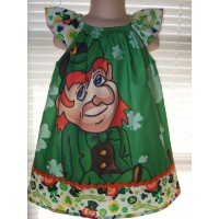st Patrick day Clover Leprechaun Luck   Dress Size 2t,3t or 4t  Ready to ship