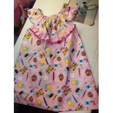 Back to School Owl pink supplies     Dress Size ,3t  4t or 5t Ready to ship