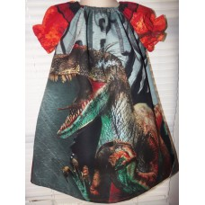 Jurassic Park Raptor Vintage Fabric Summer Dress Size 2t,3t or 4t Ready to ship LAST ONE image