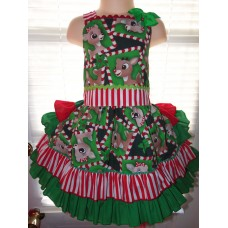 Patchwork Rudolph the red nosed reindeer Ruffle Dress Size 3t Ready to ship(see measurements ) image