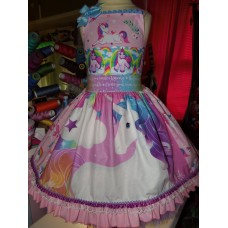 Patchwork Unless you can be a Unicorn Rainbow Unicorn Dress Size 4t Ready to ship image