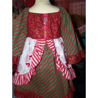 Patchwork Vintage fabric Christmas  lollipop candy and  Bows  Glitter  Dress only Size 4t   Ready to Ship