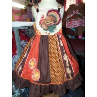 Patchwork Vintage fabric Thanksgiving Day Turkey    Ruffles Dress only Size 4t   Ready to Ship
