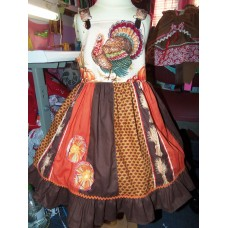 Patchwork Vintage fabric Thanksgiving Day Turkey Ruffles Dress only Size 4t Ready to Ship image