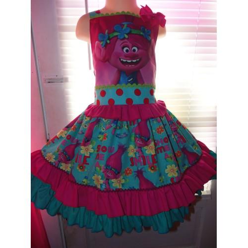 Patchwork Poppy Troll Smile Doll Polka Dots Ruffle Dress ...