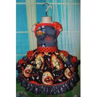 Recycling Patchwork  Vintage fabric  Mickey Mouse on Halloween   Ruffles   Dress and bow  Ready to ship(see measurements)