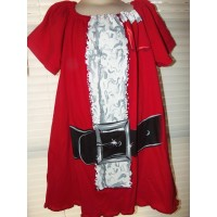 Vintage Fabric Christmas New Year  Santa Clause T-shirt dress Stretch Knit   Dress Size 4t  22in length